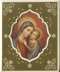 Vintage Christmas Madonna Our Lady Of Good Counsel Gold Ebmossed Greeting Card