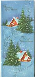 Vintage Christmas Red Houses Green Evergreen Trees Snow Embossed Greeting Card