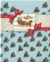 Vintage Christmas Gold Red Holly Berry Sleigh Ride Ornamental Design Card Print