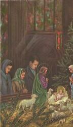 Vintage Christmas Church Manger Christ Mary Sheep Stained Glass Windows Art Card