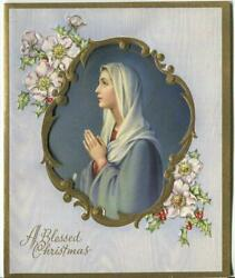 Vintage Christmas Madonna Of The Lilies Holly Anemones Embossed Gold Diecut Card