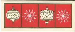 Vintage Christmas Embossed Gold Cream Red Ornaments Snowflakes Greeting Card