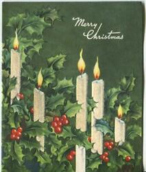 Vintage Christmas White Candles Green Holly Red Berry Flocked Mcm Greeting Card