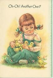 Vintage Cute Girl Auburn Hair Teal Green Overalls Baby Chick Chickens Card Print
