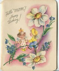 Vintage Flower Fairy Fairies Forget Me Nots Garden Child Mom Bday Greeting Card