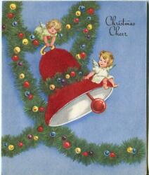 Vintage Christmas Girls Angels Red Bell Garland Ormanents Flocked Greeting Card
