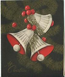 Vintage Christmas Bells Ivory Brown Red Gold Colors Art Deco Nouveau 1950and039s Card