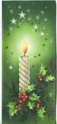 Vintage Christmas White Candle Holly Star Red Green White Embossed Greeting Card