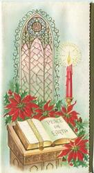 Vintage Christmas Church Pink Stained Glass Window Red Candle Poinsettia Card