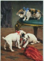 Vintage Jack Russell Terrier Dog Calico Kitten Playing 1 Red School House Card