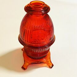 Vintage Viking Glass Ruby Red Pot Belly Stove Fairy Lamp Light Scarce Euc