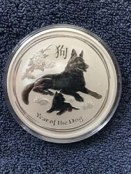 2018 Year Of The Dog - 10 Oz. 9999 Fine Silver Round - Perth Mint
