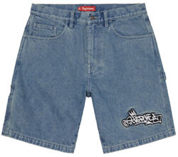 Supreme Handstyle Denim Painter Shorts - Size 36 - 100 Authentic - In Hand