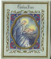 Vintage Christmas Virgin Mary Christ Child Blue Embossed Gold Mcm Greeting Card