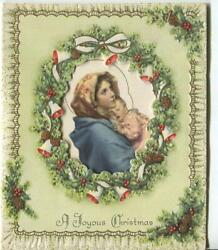 Vintage Christmas Madonna Christ Child Pine Cones Holly Embossed Gold Art Card