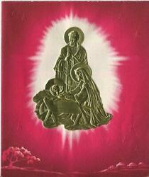 Vintage Christmas Die Cut Vignette Nativity Christ Mary Gold Red Greeting Card