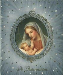 Vintage Christmas Mother And Child Guiseppe Vicentini Blue Mary Christ Child Card