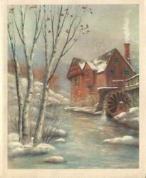 Vintage Christmas Timber Wood Water Grist Mill Snow Stream Glitter Birch Card