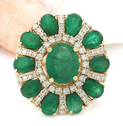 1.74ct Natural Round Diamond 14k Solid Yellow Gold Emerald Cocktail Ring Size 7