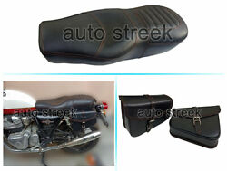 Royal Enfield Gt And Interceptor 650 Leather Comfortable Dual Seat And Pannier Bag