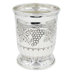 Chiseled Solid Silver Ice Bucket With Grapes Decoration
