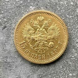 1897 Russia 15 Rouble Gold Coin Nicholas Ii 15 Roubles