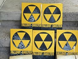 Five Genuine Civil Defense Fallout Shelter Metal Sign Nos Rare Htf Ships Today