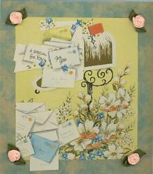 Vintage Mail Box Letters Flowers Aesthetic Art Collage Picture On Antique Paper