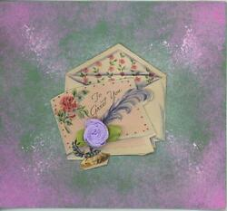 Vintage Roses Inkwell Feather Pen Flowers Print Watercolor Border Art Collage
