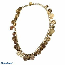 Coin Rosary Costume Jewelry Necklace Moon Star Celestial Gold Tone Fashion New