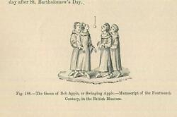 Antique Medieval 1870and039s Art Game Of Bob Apple Swinging Bobbing For Apples Print