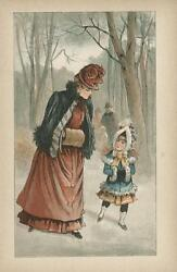 Antique Victorian Woman And Child Fur Muff Winter Woods Walking Trees Color Print