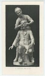 Antique Victorian Girl Boy Horn Sculpture Game Hide Who Is It Miniature Print
