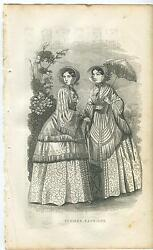 Antique Victorian Girl Woman Summer Fashions Dresses Gowns Parasol Old Art Print