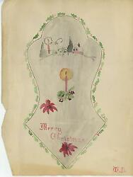 Antique To Vintage Distressed Primitive Naive Christmas Shabby Painting Chic Art