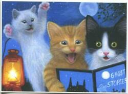 Aceo Cats Kittens Reading Ghost Stories Book Full Moon Lantern Halloween Print