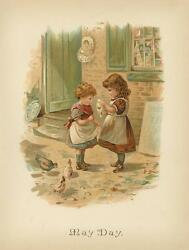 Antique Victorian Child Children May Day Gift Chickens Treat Chromo Color Print