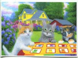 Aceo Three Cats Kittens Sewing Quilting Garden Victorian Yellow House Art Print