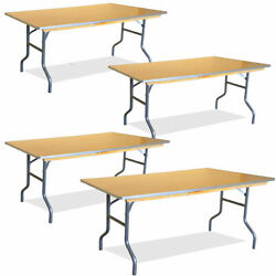 4 Rectangle Dining Table 6and039 Heavy Duty Party Event Wood Banquet Folding Tables