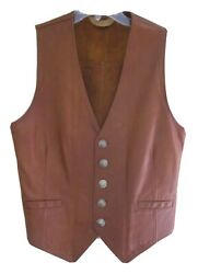 Aries Boulder Co Leather Menand039s Buffalo Head Nickels Button Vest Size 40