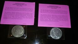 Two Us Mint 1972 Usa Eisenhower Ike Silver Dollar Coins Uncirculated Collectible