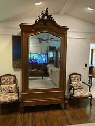 Towering Louis Xv Antique French Armoire Wardrobe In Walnut W/beveled Mirror