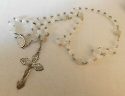 Vintage Sterling Silver Rosary Acp Mark - 28 Worn Plus 6 Extension Brown Pouch