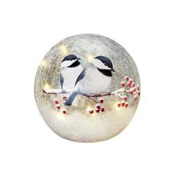 Collections Etc Lighted Winter Chickadee Tabletop Crackled Glass Ball Décor, Sma