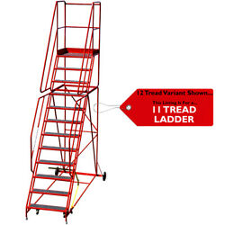 11 Tread Heavy Duty Mobile Warehouse Stairs Anti Slip Steps 3.48m Safety Ladder