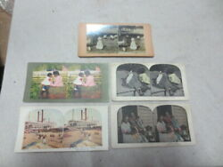 5 Stereopticon Cards Black Americana Stereoview Stereoscope Lot103
