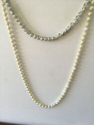 Two Vtg White Painted Milk Glass Pearl Bead Necklaces 30l And 17l As Is