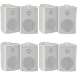 8x 60w 2 Way White Wall Mounted Stereo Speakers 3 8ohm Mini Background Music