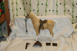 Vintage Louis Marx Johnny West Horse Golden Palomino Thunderbolt W Accessories