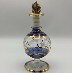 Decorative Glass Perfume Bottle With Dabber Stopper Hand Blown Gold Trim Floral